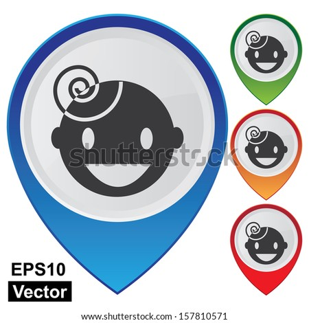 Vector : Business and Service Concept Present By Colorful Glossy Style Map Pointer With Nursery School or Children Sign Isolated on White Background - stock vector