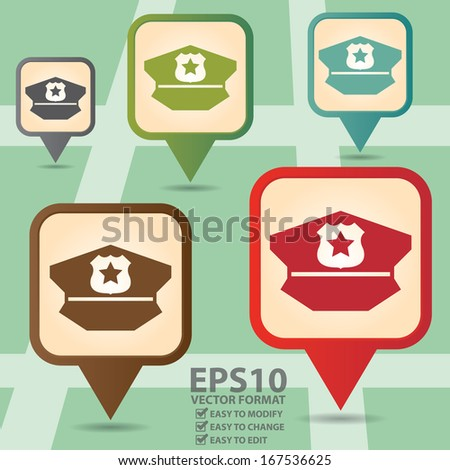 Vector : Business and Service Concept Present By Colorful Vintage Style Map Pointer Icon With Police Helmet or Police Station Sign in POI Map Background - stock vector