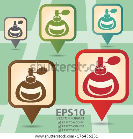 Vector : Business and Service Concept Present By Colorful Vintage Style Map Pointer Icon With Perfume or Fragrance Shop Sign in POI Map Background  - stock vector