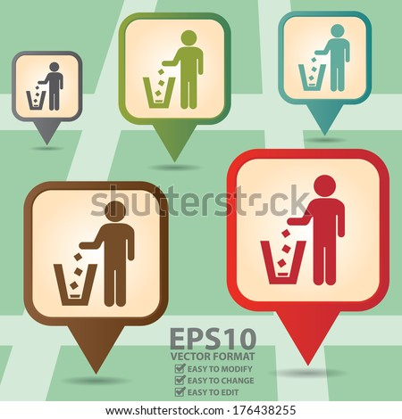 Vector : Business and Service Concept Present By Colorful Vintage Style Map Pointer Icon With Litter Bin, Garbage Pail, Ashcan Or Dustbin Sign in POI Map Background  - stock vector