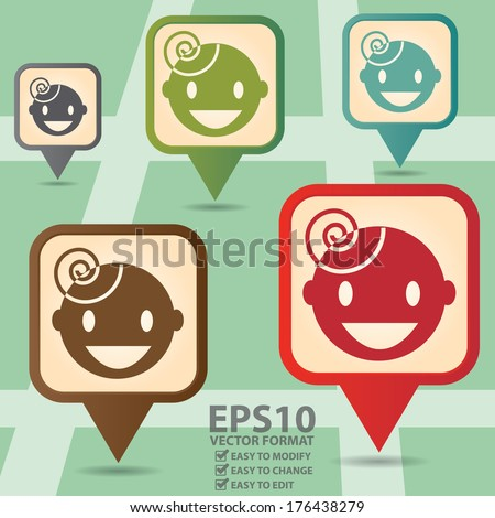 Vector : Business and Service Concept Present By Colorful Vintage Style Map Pointer Icon With Nursery School or Children Sign in POI Map Background  - stock vector