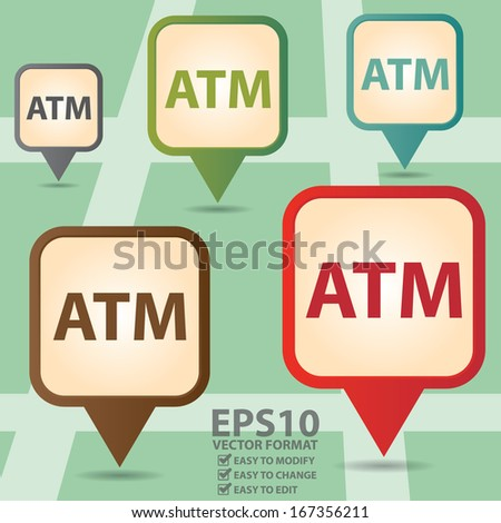 Vector : Business and Service Concept Present By Colorful Vintage Style Map Pointer Icon With ATM or Automated Teller Machine Sign in POI Map Background - stock vector