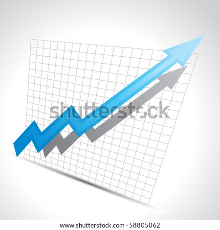 vector business arrow showing growth progress - stock vector