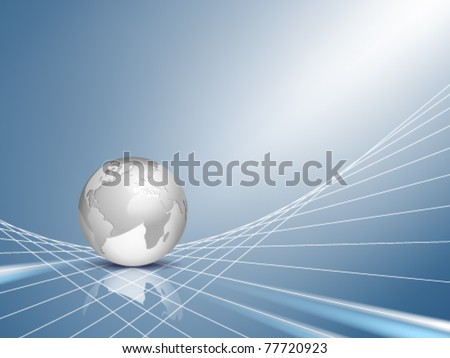 Vector business background - design with light silver grey 3d globe, world map with blue shiny abstract web, network backdrop - technical communication and connection concept - stock vector