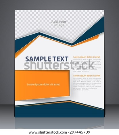Vector business brochure flyer design layout template, cover design in blue and orange colors - stock vector