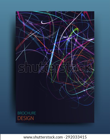 Vector business brochure flyer template or corporate banner design in A4 size.Neon lights on dark background. Modern abstract web, poster ,brochure design template. - stock vector
