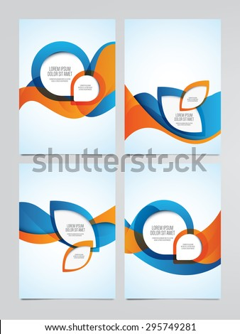 Vector business brochure, flyer templates. Set of modern orange and blue corporate designs. - stock vector