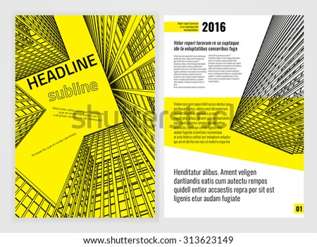 Vector business brochure template. Bright modern backgrounds for poster, print, flyer, book, booklet, brochure and leaflet design. Editable graphic image in white, black and yellow colors - stock vector