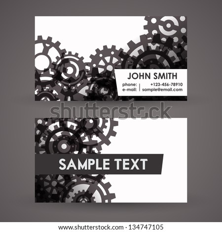 Vector Business Card Design with Cogwheels | EPS 10 Vector - stock vector