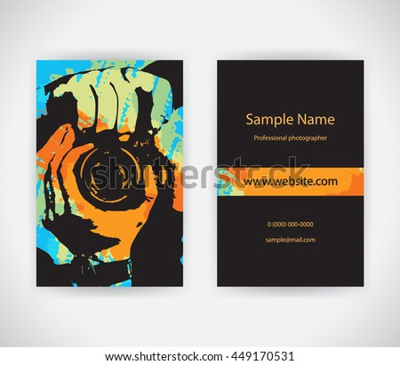 Vector business card photographer on background stock vector vector business card for photographer on background with paint splashes set template reheart Image collections
