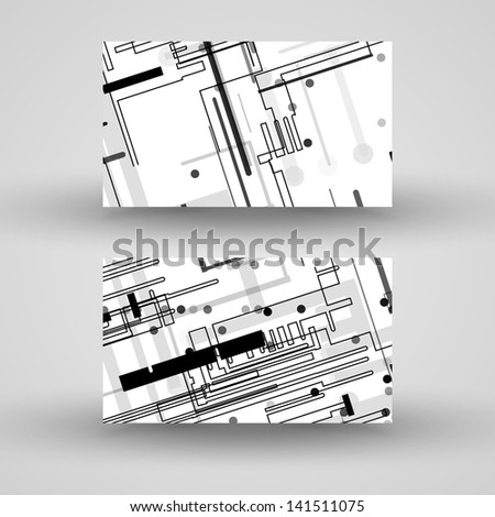 Vector business-card  set for your design, circuit board Illustration. - stock vector