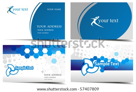 vector business card set, vector illustration. - stock vector