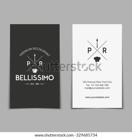 Vector business card template italian restaurant stock vector vector business card template for italian restaurant with hipster logo retro vintage style design reheart
