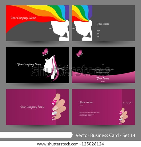 Vector Business Card Template Set Beauty Stock Vector - Hair salon business card template