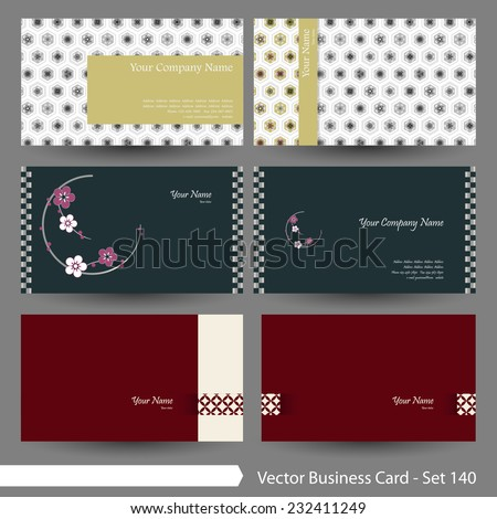 Vector business card template set: Japanese, oriental and Kimono pattern graphic design elements for cards & background (Part 140) - stock vector