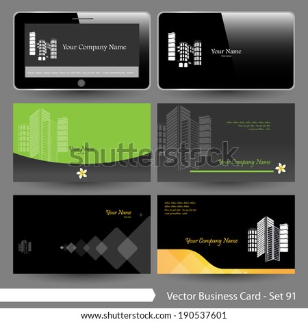 Vector business card template set real stock photo photo vector vector business card template set real estate building flower and computer graphic design reheart Images
