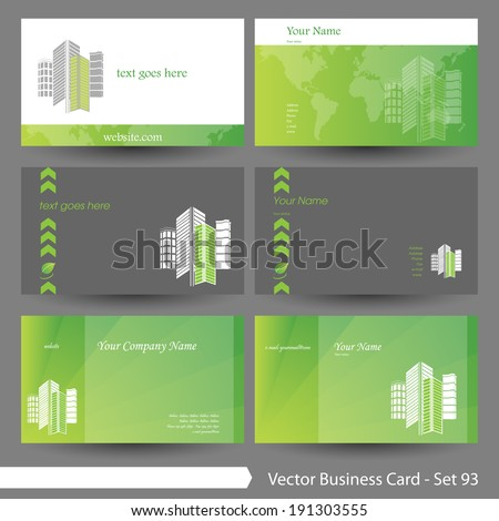 Vector business card template set: Real estate, hotel, building, environment and clean graphic design elements for cards & background (Part 93) - stock vector