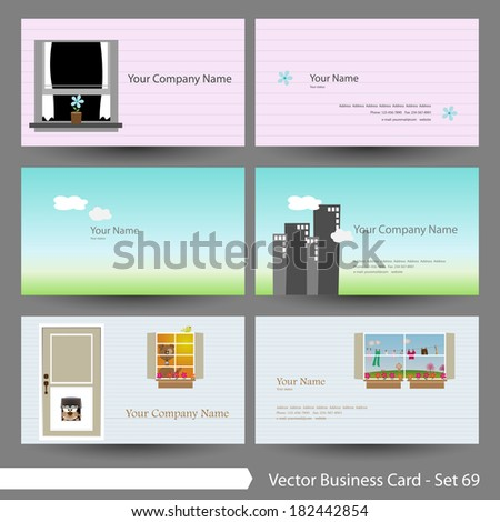 Vector Business Card Template Set Real Stock Vector