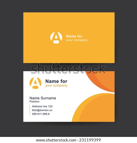 Vector business card template. Universal solid business card with place for your text.  - stock vector