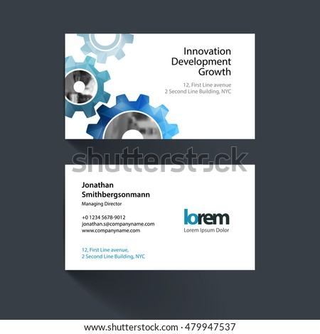 Vector business card template blue gear stock vector hd royalty vector business card template with blue gear and polygonal background for engineering construction and hi reheart Choice Image