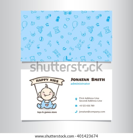 Vector business card template cute baby stock vector hd royalty vector business card template with cute baby shop logo accmission Choice Image