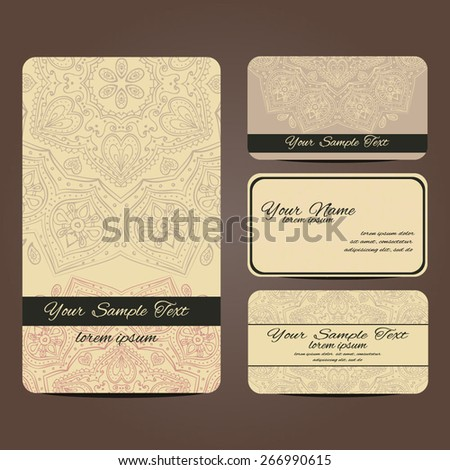 Vector business card. Vintage decorative elements. Hand drawn background.