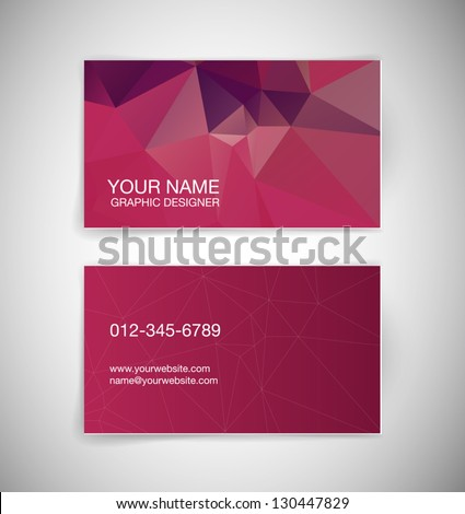 Vector business card with abstract polygonal background - stock vector