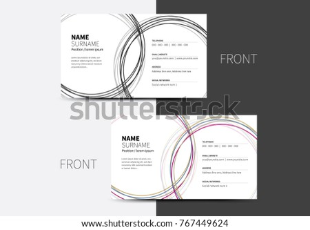 Vector business card multiple circles crossed stock vector 2018 vector business card with multiple circles crossed each other in two color options colourmoves