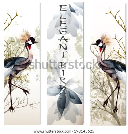 Vector business cards set with couple of graceful birds