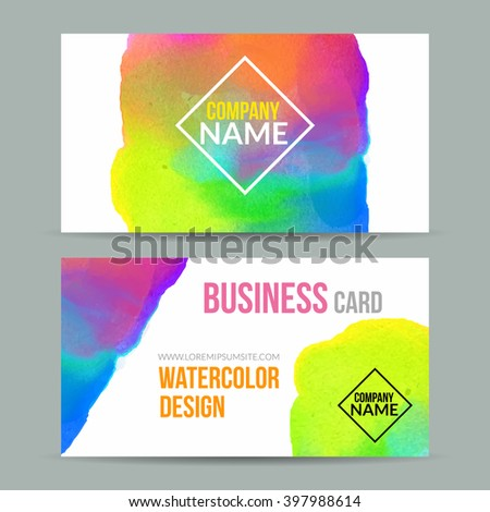 Vector business cards template watercolor paint stock vector vector business cards template with watercolor paint abstract background business card mockup fbccfo Image collections