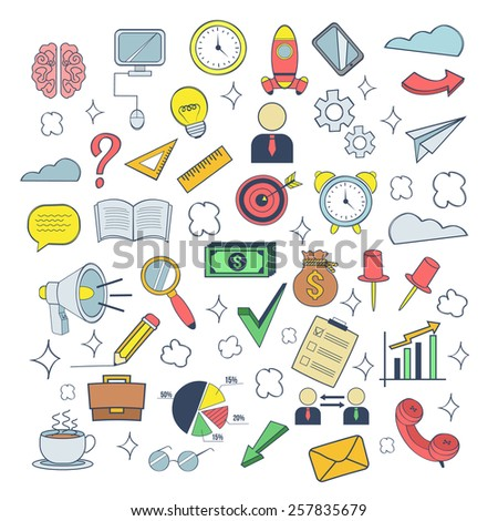 Vector business colorful doodles icon