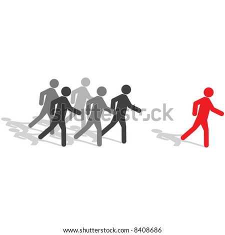Vector - Business Concept - Be different, step out from the crowd - stock vector