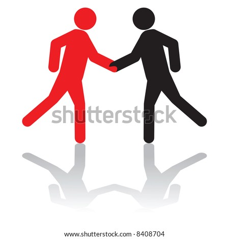 Vector - Business concept - greeting each other,or, shaking hands on a deal - stock vector
