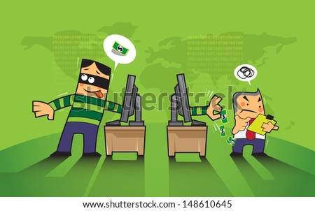 vector business concept hacker, phishing hacking internet social network - stock vector
