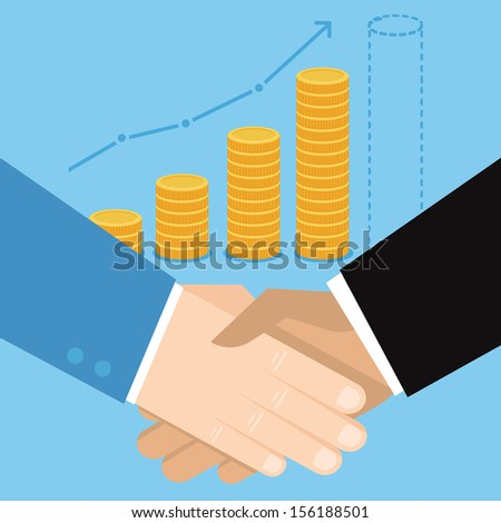 Vector business concept in flat style  - handshake  icon - stock vector