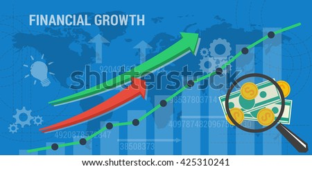 Vector business concept of financial growth. Web banner. Concept analytics, earnings growth. Arrows shows growth, money, banknotes and abstract lines in flat style - stock vector