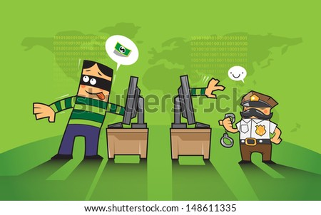 vector business concept protection hacker, phishing hacking internet social network - stock vector