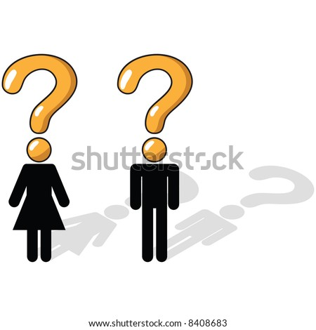 Vector - Business Concept - Questioning, uncertainty, unsure - stock vector