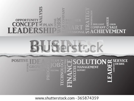 Vector business concept related words in tag cloud isolated on gray background with different association business terms. The effect of torn paper and silver letters - stock vector