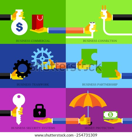 """Vector 6 Business Concepts """"Commercial, Connection, Teamwork, Partnership, Security, Money Protection, Business Concepts. - stock vector"""