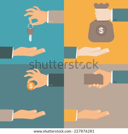 Vector business concepts in flat style - hands giving and receiving earnings, charity, keys and card - exchange and barter - stock vector