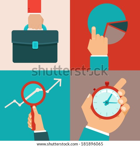 Vector business concepts in flat style - male hands and office objects - stock vector