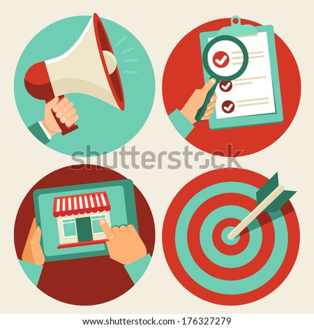 Vector business concepts in flat trendy style - advertising and promotion, online shopping and target marketing - stock vector