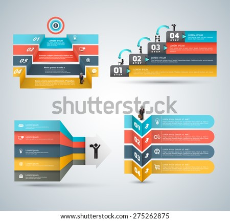 Vector business concepts with icons set. Can use for infographic, loop business report or plan, modern template, education template, business brochure, system diagram. - stock vector