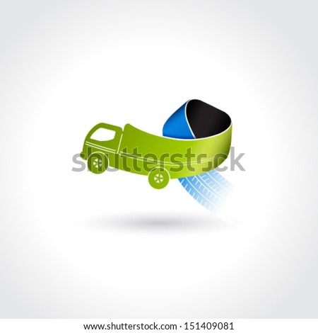 Vector business delivery symbol, transport icon, truck with tire tracks - stock vector