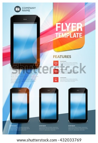 Vector business design template for brochure, flyer, mobile technologies and applications. Colorful modern abstract background