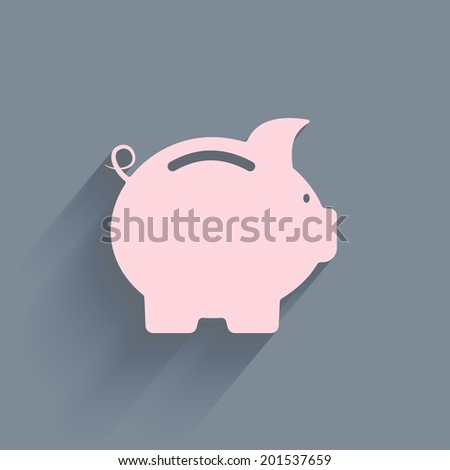 Vector business flat piggy bank icon isolated on a plain background - stock vector