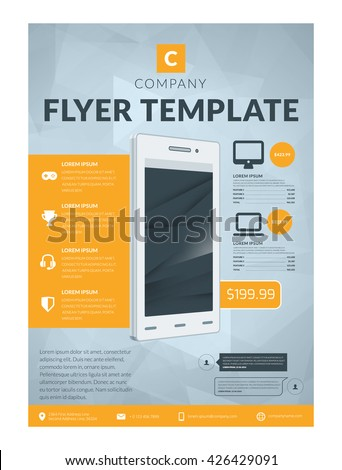 Vector Business Flyer Design Template Mobile Stock Vector 426429091