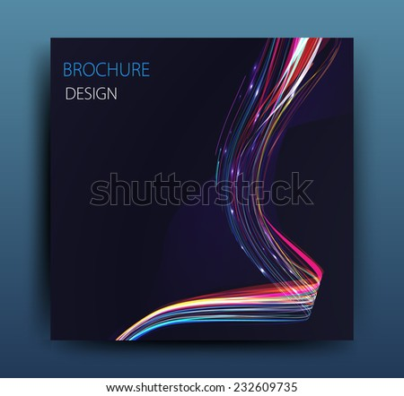 vector business flyer template or corporate banner design with neon waves - stock vector