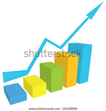 Vector business graph with arrow - stock vector